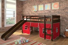 Wasila Loft Bed with slide - put a bed on the bottom and then even the bottom bunk can be cool!