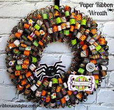 Halloween Paper Ribbon Wreath - Ribbons & Glue