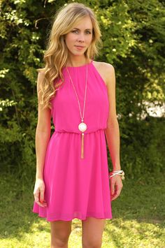 This dress doesn't need a pop of color because it is the pop of color.  With a halter top and elastic waist, its great to show off your upper body and arms.  Exclusively at Page 6.     100% Polyester  Hand Wash Cold  Made in the USA  Length: 25 inches