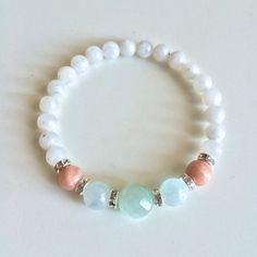 Genuine Aquamarine, Amazonite & Moonstone Bracelet w/ Swarovski Crystal Roundels ~ Healing Bracelet ~ Creativity, Intuition and Inner Growth