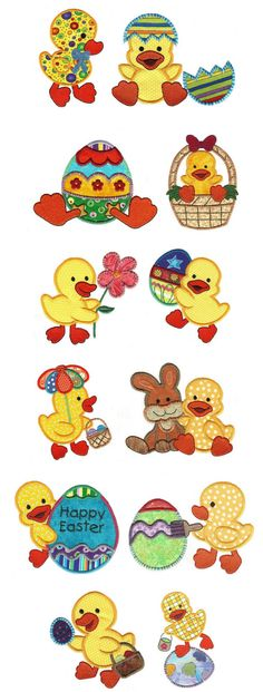 These precious and vibrant Easter themed ducks in applique are a must have for this Easter! Exclusive artwork for Designs by JuJu by Christopher Brown Machine Applique, Wool Applique, Applique Patterns, Applique Designs, Embroidery Applique, Embroidery Stitches, Sewing Appliques, Free Machine Embroidery Designs, Patch Quilt