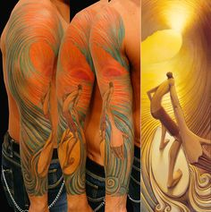 """Surfing Tattoos. Image A Tattoo rendition of """"Pot of Gold"""" on the arm of ..."""