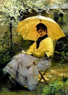 Albert Edelfelt - Woman and Parasol, 1886 view more classic and vintage paintings from http://www.paintingsframe.com/
