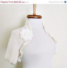BLACK FRIDAY SALE White Bridal Shrug With Flower by knittingshop, $58.50