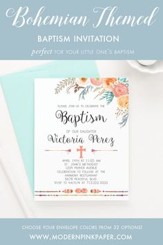 Bohemian baptism invitations, Floral baptism invitations, Boho christening invitations