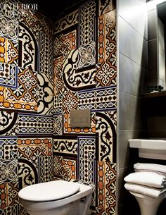 Generator hostel bathroom, by Design Agency. love that patchworking of the tile patterns