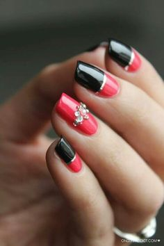 Black & Red nail art