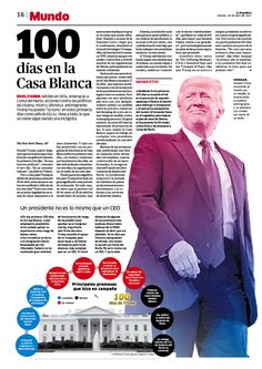 100 días de Trump Diseño para el diario La República Newspaper design Layout: Julio Bolaños Infographic: Rocío Medina
