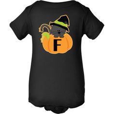 Halloween Monogram F Infant Creeper has cute witch kitty cat and pumpkin design. $16.99 www.homewiseshopperkids.com