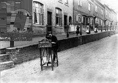 Knife grinder, Hall Street, Kidderminster (b/w photo)