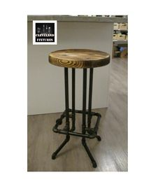 Black Pipe Bar Stool With Round Seat & Square Foot Rest