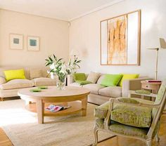 3 Modern Living Room Designs in Fresh Green Color Inspired by Sprign Decorating