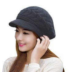 46e5179f329 HINDAWI Winter Hats for Women Outdoor Warm Knit Snow Ski Crochet Skull Cap  with Visor Black