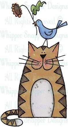 Garden Kitty - Cats - Animals - Rubber Stamps - Shop - Tap the link now to see all of our cool cat collections! Gato Animal, Art Fantaisiste, Pintura Country, Cat Quilt, Cat Crafts, Cat Drawing, Whimsical Art, Rock Art, Doodle Art