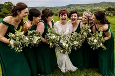 Bridesmaids in green dresses with natural green bouquets Wedding Reception At Home, Barn Wedding Photos, Marquee Wedding, Quirky Wedding, Relaxed Wedding, Bridesmaids, Bridesmaid Dresses, Wedding Dresses, Wedding Colors