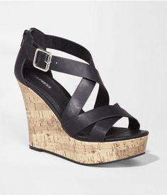 CRISSCROSS STRAP CORK WEDGE SANDAL | Express