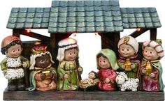 "Nativity Set with creche made of resin. Size 2"" x 10-3/4"" x 6-1/2"""