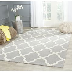 Safavieh Handmade Moroccan Cambridge Silver Wool Rug - 14967211 - Overstock - Great Deals on Safavieh - Rugs - Mobile Farmhouse Style Furniture, Modern Moroccan, Moroccan Rugs, Trellis Design, Trellis Rug, Hand Tufted Rugs, Cool Rugs, Online Home Decor Stores, Online Shopping
