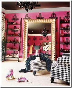 large mirror and ladder style storage for shoes...? With chandelier, of course.