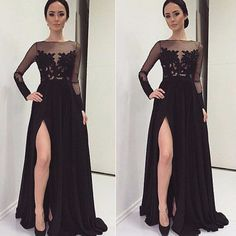 New Arrival Long Black Prom Dresses,Chiffon Prom Dress,Side Slit Prom Dress,Long Sleeve Evening Dress,See Though Evening Dress