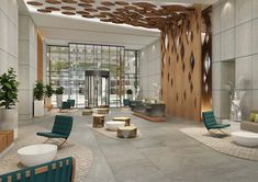 Marriott Courtyard & Residence – U+A Architecture, Interior Design, Urban Planning & Landscape Lobby Interior, Office Interior Design, Interior Architecture, Design Offices, Modern Offices, Office Designs, Office Building Lobby, Office Lobby, Office Entrance
