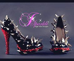Claw High Heels - Dress Shoes with High Heel, Studded, Trendy, Colorful, Cute, Candy, Outdoor, Love it!