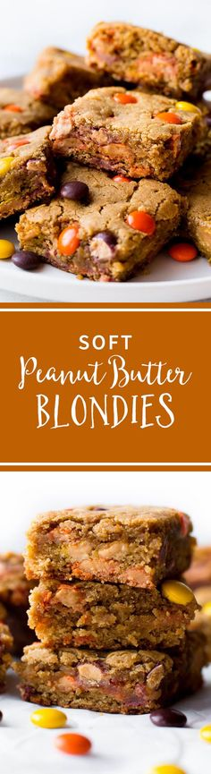 Super soft and simple peanut butter blondies filled with | Posted By: DebbieNet.com