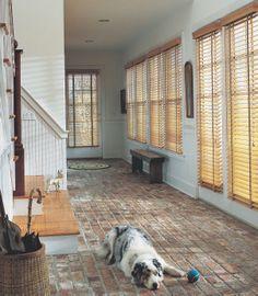 Ahhh, it has been a long day!  Hunter Douglas Parkland™GenuineWoodsblinds  ♦ Hunter Douglas window treatments #hallway #dog