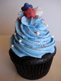 Dark chocolate cupcake filled with chocolate ganache; Marshmallow Cream Frosting, Chocolate Cupcakes Filled, Patriotic Cupcakes, Chocolate Ganache, Desserts, Food, Tailgate Desserts, Deserts, Meals