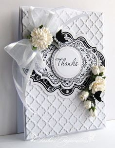 Lattice white and white handmade card Anna Griffin style #latticecard #whiteonwhite #shabbychic
