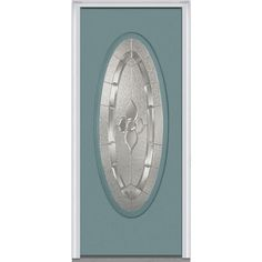 Milliken Millwork 31.5 in. x 81.75 in. Master Nouveau Decorative Glass Full Oval Lite Painted Fiberglass Smooth Exterior Door, Riverway