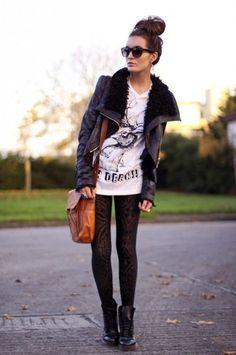 #SheInside Gezuckt Shearling Collar Black Jacket - Sheinside.com