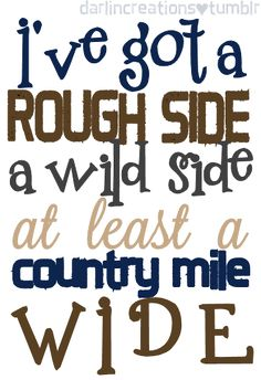 I've got a rough side, a wild side at least a country mile wide - Point At You - Justin Moore