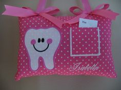 Happy Tooth TOOTH FAIRY PILLOW personalized just for you. $14.99, via Etsy.
