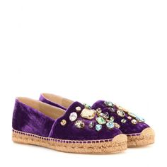 Dolce & Gabbana - Crystal-embellished velvet espadrilles - We love this signature Dolce & Gabbana take on the espadrille. The classic style is finished in luxe purple velvet, and adorned with multicoloured crystals which serve as a sophisticated update to the humble jute base. seen @ www.mytheresa.com