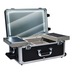 """Monda Studio MSC-810 LED Lighted Makeup Station by Monda Studio. $237.00. Multiple Storage Areas. Adjustable Storage Dividers. Made for Professional Make Up Artists. New LED Lighting. Dimensions: 12.5x19x9.5"""" Mirror: 18x11.5"""" Sides inside: 12x3x3.5"""" Drawers: 11x5.5x1"""" Inside Compartment: 10.5x11x2"""" Drawers open to 23.5"""" wide"""