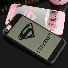 Mode Nieuwste 6 6 s Superwoman Superman Spiegel Oppervlak TPU Case Voor iPhone 6 Plus 5 5 s SE Chrome Achterkant Gevallen Fundas Coque