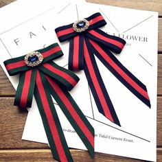 Red Blue Green Flower Crystal Fashion Ladies Men Pre Tied Bow Brooch Pin #Handmade