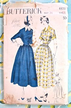 Butterick 4820  Vintage 1940s Womens Shirt Dress by Fragolina, $10.00
