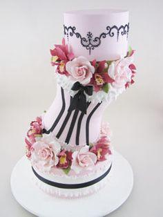 <3 elegant pink corset cake