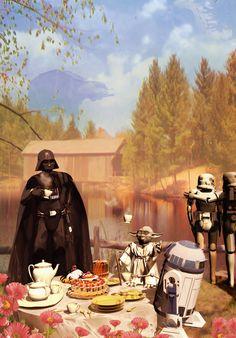 'Galactic Tea Of Love' by franco brambilla Star Wars Cultura Pop, Star Wars Art, Star Trek, The Force Is Strong, Star Wars Humor, Love Stars, Obi Wan, Sith, Clone Wars