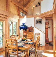 lights on beams, projecting upwards Blue Pendant Light, Beam Structure, Pendant Lamp, Pendant Lights, Kitchen Dining, Dining Rooms, Timber Frame Homes, Post And Beam, Beams