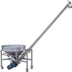 Inclined Stainless Steel Screw Auger Conveyor.. ME New Equipment Inclined Stainless Steel Screw Auger Conveyor is designed for the conveying of loose free flowing products. The conveyor is suitable for the food, chemical, pharmaceutical and general industries.