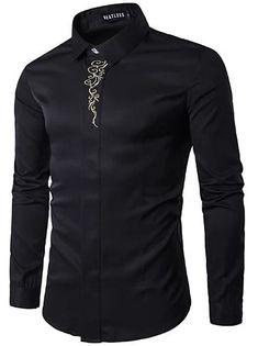 Men's Floral Shirt Basic Long Sleeve Daily Slim Tops Standing Collar White Black Wine / Spring / Work 2021 - Can $34.14 Slim Fit Dress Shirts, Slim Fit Dresses, Fitted Dress Shirts, Camisa Lisa, T Shirt Sport, Men Shirt, New Mode, Men's Fashion Brands, Fashion Site