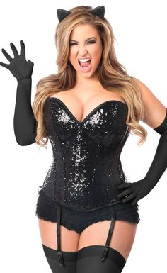 327b1bcc090 4 Piece Plus Size Sequin Black Cat Corset Costume from Daisy Top Drawer  collection. Includes