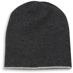 Brunello Cucinelli Cashmere Reversible Beanie ($390) ❤ liked on Polyvore featuring men's fashion, men's accessories, men's hats, apparel & accessories, grey, mens cashmere hat, mens beanie hats and mens cashmere beanie hat