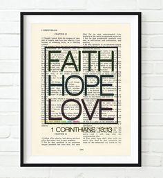 Faith Hope Love - 1 Corinthians 13:13 -Vintage Bible Highlighted Verse Scripture Page Christian Wall ART PRINT