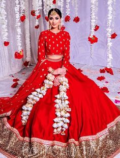 Traditional Red Bridal Lehenga by Poonams Kaurture. #Frugal2Fab Indian Bridal Outfits, Indian Bridal Fashion, Indian Designer Outfits, Bridal Dresses, Designer Dresses, Wedding Lehenga Designs, Designer Bridal Lehenga, Bridal Lehenga Choli, Indian Lehenga