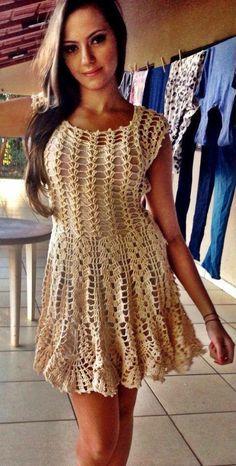 Ideas crochet summer dress women for 2019 Crochet Summer Dresses, Crochet Skirts, Summer Dresses For Women, Crochet Clothes, Moda Crochet, Cute Crochet, Crochet Lace, Knit Dress, Dress Skirt