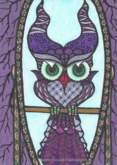 ACEO Original zentangle owl TW June Manleficent  owl purple horns mirror P4PMJFF #Miniature